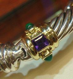 DAVID YURMAN Renaissance 14k Gold Sterling Silver Amethyst Emerald Bracelet - http://designerjewelrygalleria.com/david-yurman/david-yurman-renaissance-14k-gold-sterling-silver-amethyst-emerald-bracelet/
