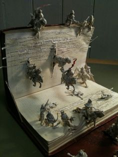 Here's a unique idea--have your child make a scene for a book report by using an old book and toy figures.  This one here is a war scene but you could use jungle animals or farm animals for other scenes in the book.