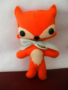 I like the sweet proportions. Would need more creepy for Halloween though....a halloween theme ribbon & a mask perhaps?   Woodland Fox Plush by catssweetshoppe on Etsy