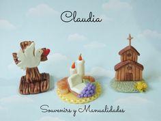 3 variedades de souvenirs para comunión en porcelana fría .-