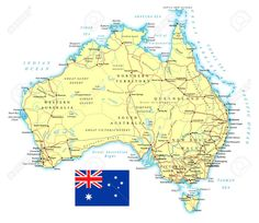 Large detailed road map of Australia and national flag. Australia Map, Western Australia, Detailed Map Of Australia, Commonwealth, Printable Maps, World Images, Wall Maps, National Flag, Blogger Templates