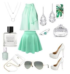 """""""Set 3 Elegance"""" by sabypolivore ❤ liked on Polyvore featuring LE3NO, Christian Louboutin, Plukka, Kobelli, Disney, Tom Daxon, Essie, Kate Spade and Ray-Ban"""
