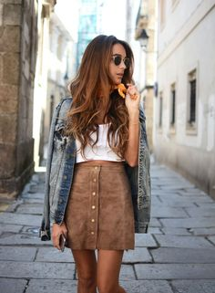 Suede skirt + denim jacket.