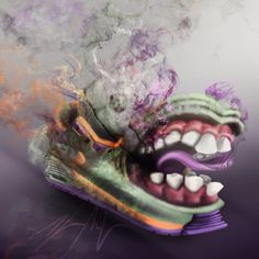 #Nike #AirMax90 #Shoes #Crazy #Smoke #Colors #Air #cartoon #Paint #Photoshop #Adobe #Apple #Production #RikinArt #wacom #Art