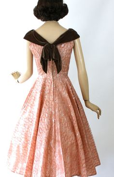 Vintage 50s Cocktail Formal Dress Pink & Silver Lace by jantiques