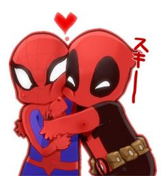 spiderman and deadpool | Gah! This Spider-Man and Deadpool art is too cute.... | Agent M Loves ...