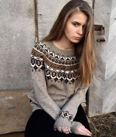 Fair Isle sweater Icelandic sweater Nordic sweater Knit pullover Knit jumper Taupe sweater Women's sweater Norwegian sweater Made to order Nordic Sweater, Icelandic Sweaters, Hand Knitted Sweaters, Fair Isle Knitting, Sweater Making, Wool Dress, Size 16 Dresses, Sweaters For Women, Crochet