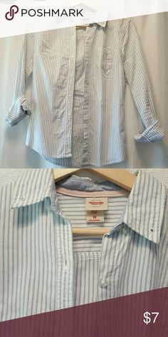 Striped button down top Striped button down Mossimo top. Runs small.  Super cute layered in fall with boots. Good condition. Mossimo Supply Co. Tops Button Down Shirts