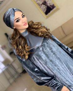 Hijab Fashion, Fashion Dresses, Velvet Dress Designs, Stylish Hijab, Diy Hair Bows, Hijab Dress, Traditional Fashion, Mode Hijab, Dress Making