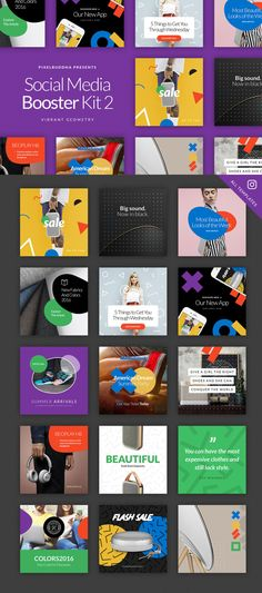 The second volume of the Social Media Booster Kit is entirely focused on the product marketing. Its vibrant templates featuring beautiful geometry shapes, vivid colors, and trendy patterns are created to help you to stand out of the crowd and promote your work and goods with style. The package includes 15 templates designed natively for Instagram, Twitter, and Facebook. Each of them is easy to edit and customize, all you have to do is replace images with your artwork via Smart Objects and…