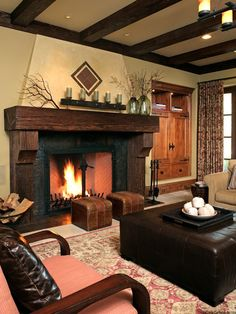 I want this fireplace and mantel in my dream home...Love it!!!