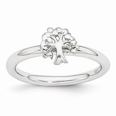 Sterling Silver Stackable Expressions Rhodium Tree Ring