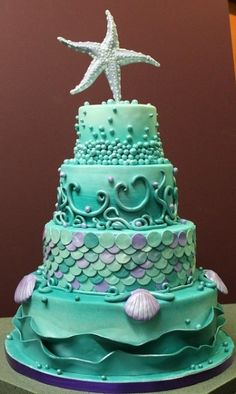 cake wedding, cake decorations, wedding cakes, beach weddings, mermaid cakes, sea theme, aqua marine, themed cakes, birthday cakes