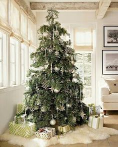 Love the white fur rug to go under the tree. Fashionable tree shirt, fabric cheap im sure and cut.