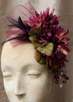 MARTHA'S VINEYARD Purple Floral Fascinator by carlafoxdesign, $75.00