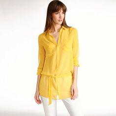 chemise longue jaune