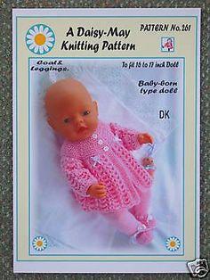1 Dolls Knitting Pattern For Babyborn By Daisy-May No 261 & Garden Knitting Dolls Clothes, Baby Doll Clothes, Crochet Doll Clothes, Crochet Dolls, Coat Patterns, Doll Clothes Patterns, Baby Knitting Patterns, Baby Patterns, Daisy May