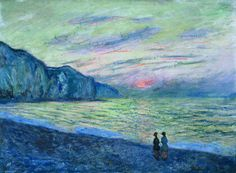 Artistic Mugs with Famous Paintings Sunset at Pourville (Detail) - Claude Monet , 1882 French Oil on canvas, 23 x 32 inches. Claude Monet, Renoir, Monet Paintings, Landscape Paintings, French Paintings, Artist Monet, Impressionist Artists, Post Impressionism, Lovers Art