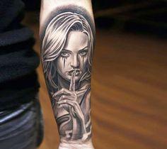 Realistic black and grey woman portrait (Less talk) tattoo art by artist Jun Cha