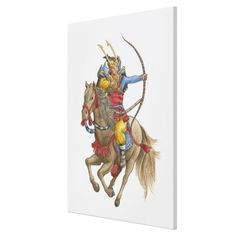 Illustration of Samurai on horseback holding bow Gallery Wrap Canvas