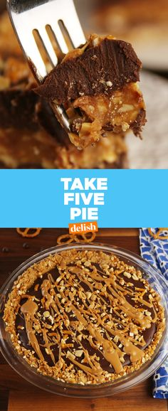 This pie tastes just like a Take 5 candy bar. Get the recipe at Delish.com. #desserts  #desserttable #chocolates #pie #candy #candybar #take5 #takefive #salty #saltysweet #caramel