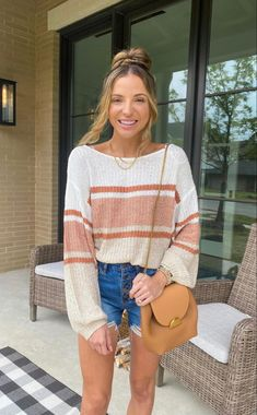 Raise your hand if you wear sweaters no matter the weather?! This oversized sweater is actually very breathable! I just paired it with jean shorts and a tan crossbody purse. I love curating fun outfits for yall!! Raise Your Hand, Color Block Sweater, Jean Shorts, Cool Outfits, My Love, Sweaters, How To Wear, Style, Denim Shorts