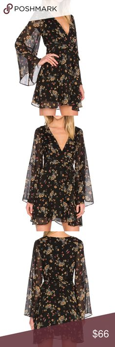 FREE PEOPLE LILOU PRINTED DRESS Self: 100% poly Lining: 100% rayon Hand wash cold Fully lined Hidden side zipper closure Self tie waist Free People Dresses Mini