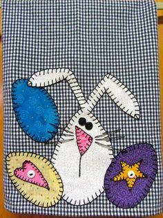 Easter Applique Kitchen Towel, Dish Towel, Hand Towel, Tea Towel
