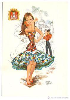 -61381 POSTAL DIBUJO CHICA CON TRAJE REGIONAL, ILUSTRACION Mª ROSA GARCIA, C Y Z 7578/31-C - Foto 1 Modern Pop Art, Princess Zelda, Disney Princess, Big Eyes, Disney Characters, Fictional Characters, Clip Art, Wonder Woman, Superhero