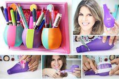 Poder nas mãos: Porta trecos criativo   As embalagens de shampoo p...