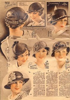 1930s hats, fashion accessories, millinery. Hats from Chicago Mail Order Catalog 1933  Source: http://what-i-found.blogspot.com/2009_11_01_archive.html