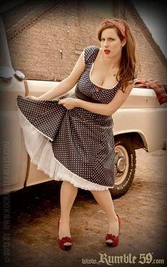 Rumble59 - Sweet Polka Dot Carmen Shirt & Sweet Polka Dot Petticoat Skirt