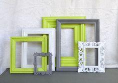 Lime Green, Grey White Frames Set of 6 - Upcycled Frames Modern  Bedroom Decor. $48.00, via Etsy.