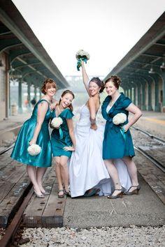 Bridesmaids picture on train tracks