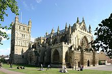 Exeter Cathedral in Devon, England. A cathedral is a Christian church that contains the seat of a bishop.