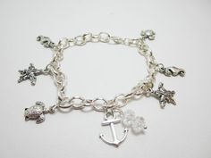 Nautical Silver Charm Sea Creature Bracelet by WhispySnowAngel, $14.95
