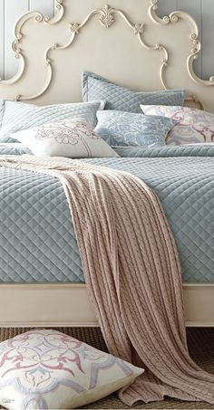 Love this~Powder Blue and Blush, so pretty~❥I love that you would not have to iron this