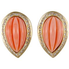 David Webb Coral and Diamond Yellow Gold Earrings ❤ liked on Polyvore