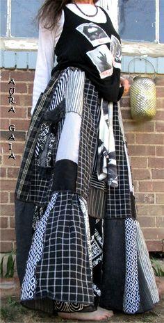 AuraGaia Celaeno~ Drawstring Waisted Long Skirt Poorgirl Upcycled XS-5X Plus