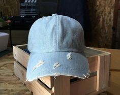 Baseball Cap Rose All Day Hat Denim Cap Jean Cap by ArtesaniaTh