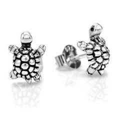 925 Oxidized Sterling Silver Little Turtle Post Stud Earrings 10 mm Jewelry for Women, Teens, Girls - Nickel Free
