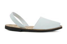 Authentic Avarcas Menorquinas in White Available in USA. Comfy Slingback flat leather sandals