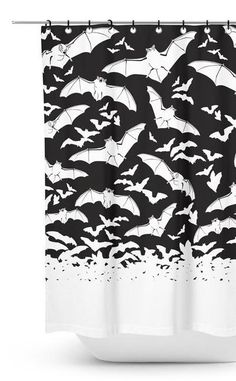 The Unexplained Puzzle Into Black And White Bathroom Decorations Shower Curtains Exposed 48 Bathroom Shower Curtains, Fabric Shower Curtains, Bathroom Showers, Bathroom Spa, Modern Bathroom Design, Bathroom Interior Design, Goth Home Decor, Shower Accessories, Up House