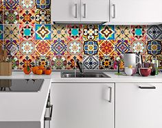 Wall Art Decor Traditional Talavera Tiles Stickers for Kitchen Remodelation (Pack with 24) (4 x 4 inches) Moonwallstickers.com