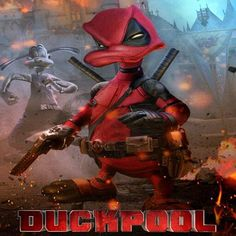 """In honor of Deadpool coming out on Bluray, I made this photo-illustration of what would happen if Disney made Deadpool. not with Ryan Reynolds, but With Donald Duck! I present, the """"G"""" Rated DUCKPOOL! (crosspost form r/disney) Deadpool Art, Deadpool Funny, Deadpool Wallpaper, Marvel Wallpaper, Captain Marvel, Captain America, Marvel Drawings, Marvel Fan Art, Kino Film"""