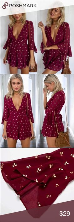 🍒 Burgundy Wine & Gold Cherry Romper~ Large🍒 So Trendy & So Super Cute Adorable Burgundy Wine & Gold Cherry Romper~ Bell Sleeves, Lined, Dress it Up w/ Heels or Dress Down w/ Flats~ Quality Made, New w/ Tags~ Purchased on Posh thinking it would Run Smallish? but No, Its True to Size (Junior Large 12/14) I'd have gone & Purchased the next Size down because I love it so, but it's very unfortunately Sold Out..:(:( My Loss you're Gain Missguided Dresses