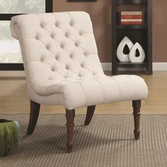 Basildon Accent Chair (Basildon Ivory Accent Chair), Beige Off-White (Linen)