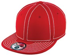 Blank Heavy Stitch Fitted Cap - Red/White