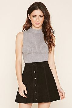 Gray FOREVER21  crop top  for woman Crop Top,Cable Knit,Mock Neck #topcorto #bralet #strappybralet #bandeautop