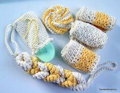 Crochet DishCloths, Crochet Cotton Spa Set,Crochet Bath Set Handmade Shower and Bath Gift, Face Cloth , Gift Set.Shower Gifts by SandeesKreations on Etsy